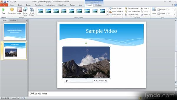Inserting a video or audio clip: Up and Running with PowerPoint 2010