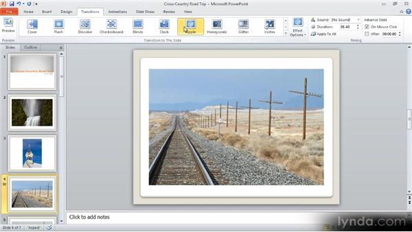 Slide transitions and auto-advance: Up and Running with PowerPoint 2010