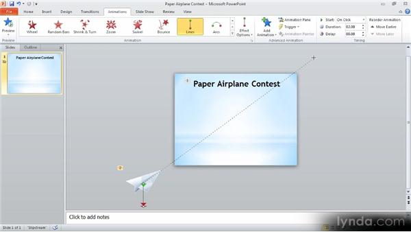 Creating motion on a path: Up and Running with PowerPoint 2010