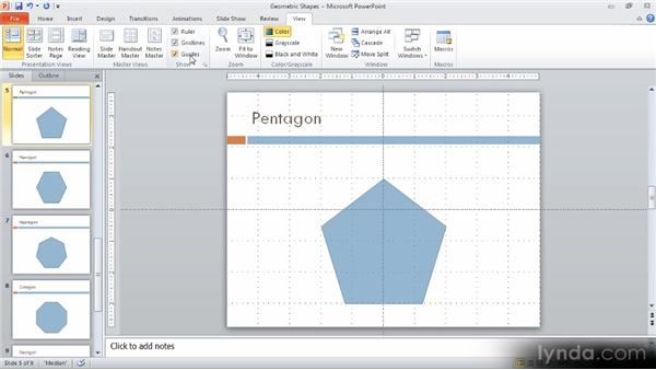 Adjusting view settings: Up and Running with PowerPoint 2010