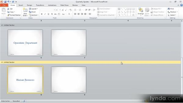 Using sections to organize slides: Up and Running with PowerPoint 2010