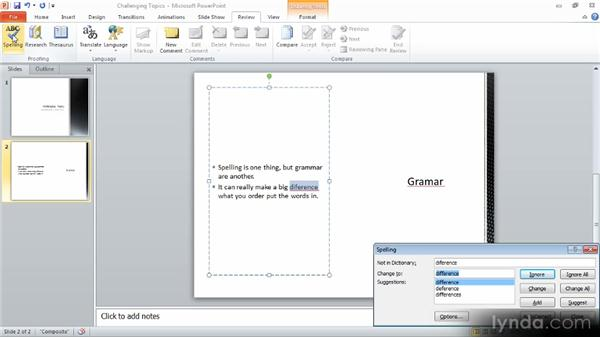 Checking your spelling: Up and Running with PowerPoint 2010