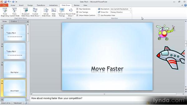 Playback options: Up and Running with PowerPoint 2010
