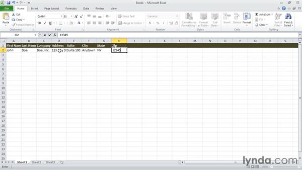 Creating an Excel spreadsheet for recipients: Creating a Mail Merge in Word 2010