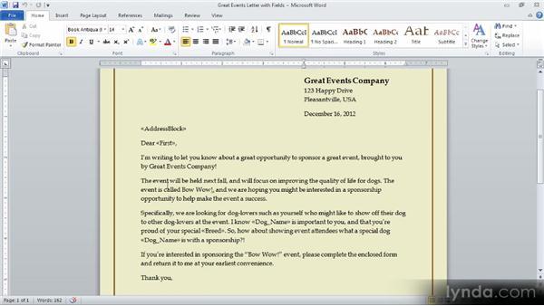 Highlighting merge fields: Creating a Mail Merge in Word 2010