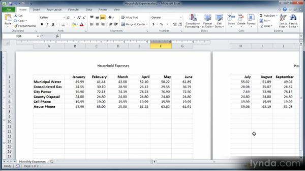 Switching between views: Learn Excel 2010: The Basics