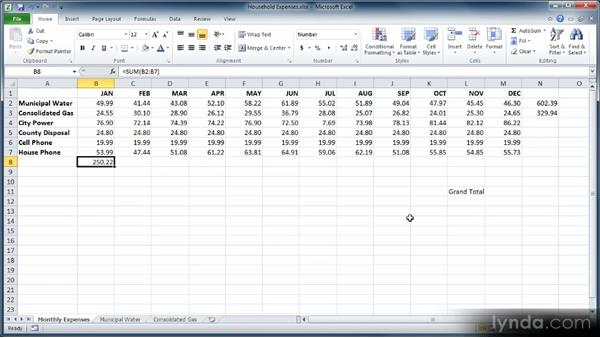 Totaling rows and columns with AutoSum and Fill: Learn Excel 2010: The Basics