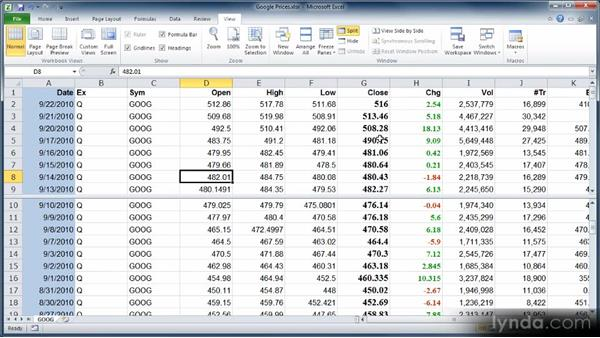 Splitting the worksheet view and freezing panes: Learn Excel 2010: The Basics