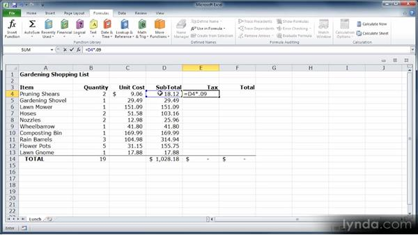 Writing your own formulas: Learn Excel 2010: The Basics