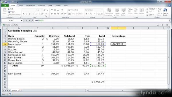 Understanding relative and absolute references: Learn Excel 2010: The Basics