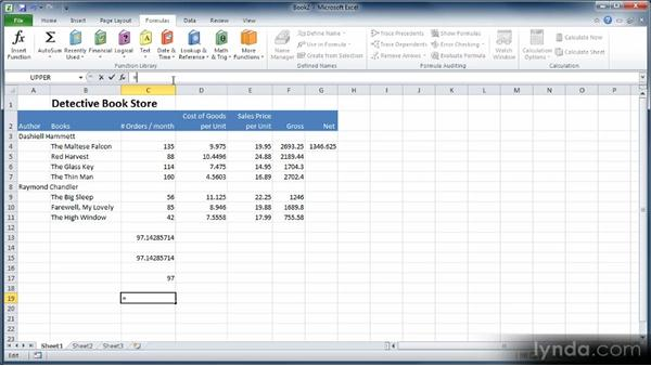 Using functions like ROUNDUP, AVERAGE, and IFERROR: Learn Excel 2010: The Basics