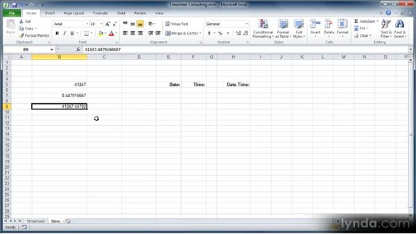 Formatting dates and times: Learn Excel 2010: The Basics
