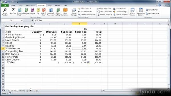 Naming cells and ranges: Learn Excel 2010: The Basics