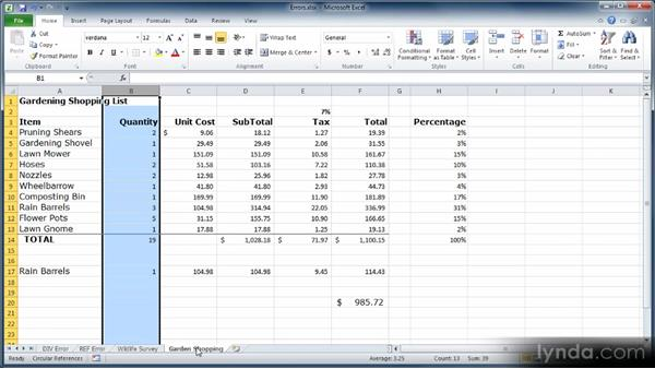 Moving, inserting, and removing cells, rows, and columns: Learn Excel 2010: The Basics