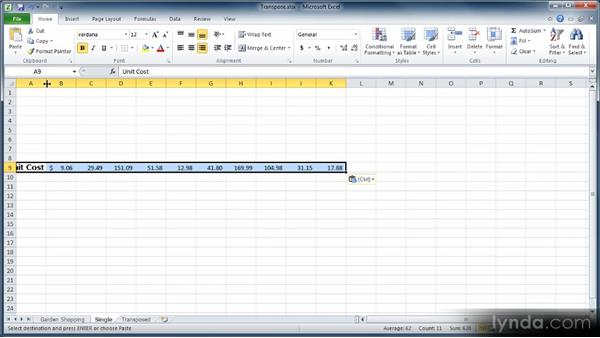 Transposing rows and columns: Learn Excel 2010: The Basics