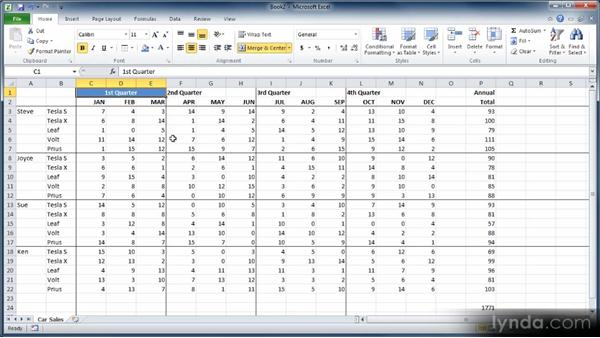 Merging and unmerging cells: Learn Excel 2010: The Basics
