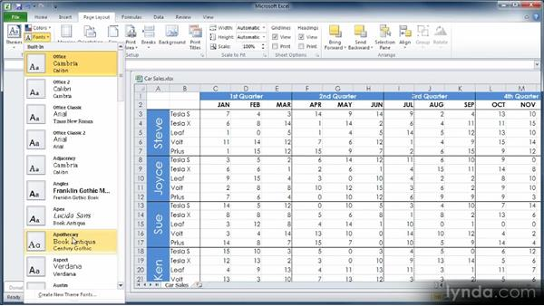 Changing worksheet colors, fonts, and effects: Learn Excel 2010: The Basics