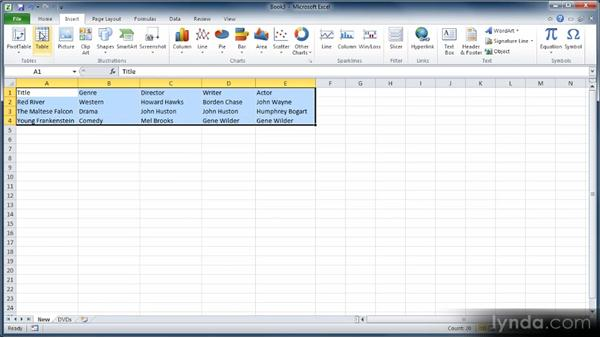 Creating a data table: Learn Excel 2010: The Basics