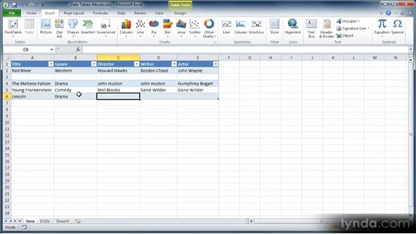 Adding records and modifying a data table: Learn Excel 2010: The Basics