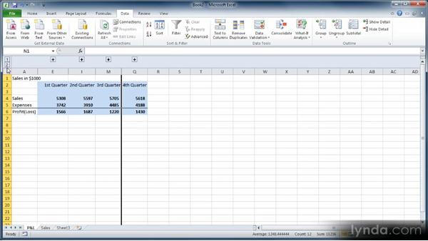 Grouping data in outlines: Learn Excel 2010: The Basics