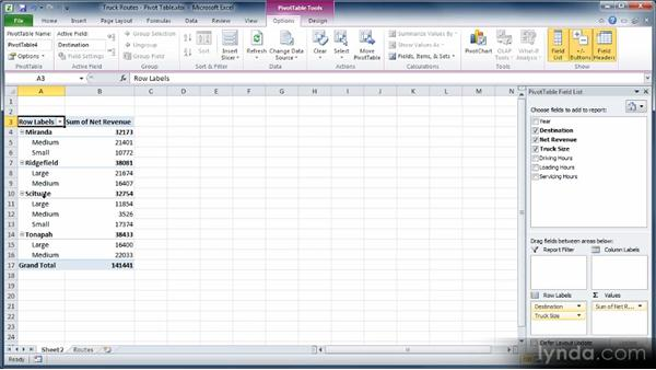 building a pivot table