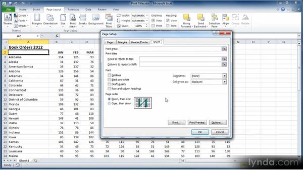 Printing a worksheet with column and row headers: Learn Excel 2010: The Basics