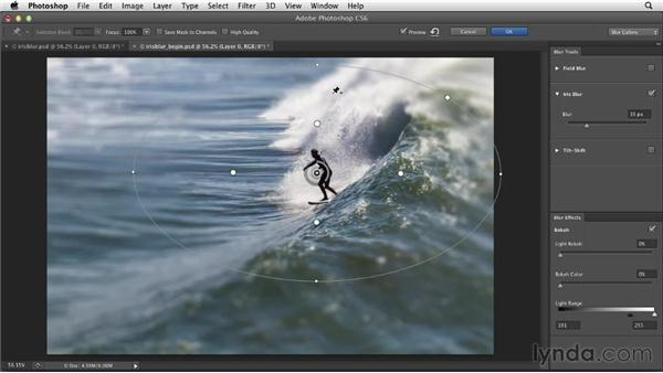Using Iris Blur to accentuate a foreground: Photoshop for Designers: Filters
