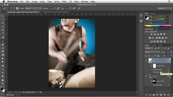 Creating a blur effect with Motion Blur and Puppet Warp: Photoshop for Designers: Filters