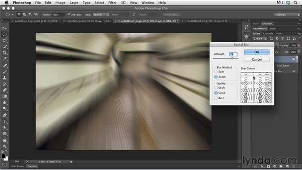 Creating a radial blur: Photoshop for Designers: Filters
