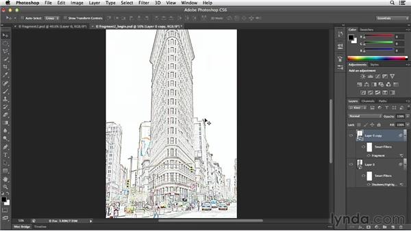 Creating a line drawing with the Fragment filter: Photoshop for Designers: Filters
