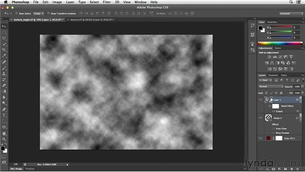 Creating synthetic textures with the Clouds filter: Photoshop for Designers: Filters