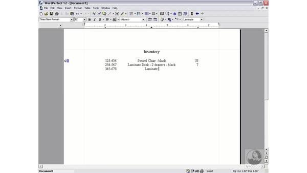 setting tabs: WordPerfect 12 Essential Training