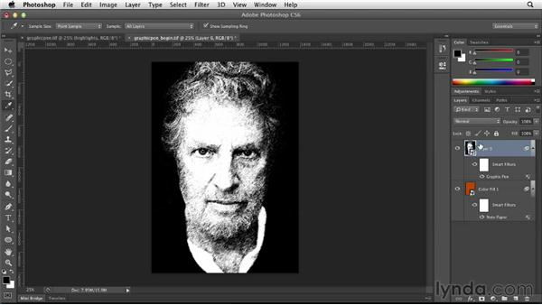 Creating a portrait with the Graphic Pen filter: Photoshop for Designers: Filters