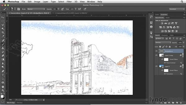 Creating a line drawing with the Trace Contour filter: Photoshop for Designers: Filters