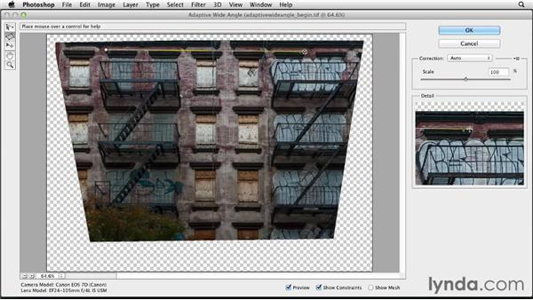 Straightening perspective with Adaptive Wide Angle: Photoshop for Designers: Filters