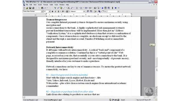 page breaks: WordPerfect 12 Essential Training