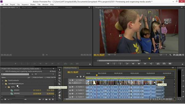 Previewing and organizing media assets: Video Journalism Storytelling Techniques