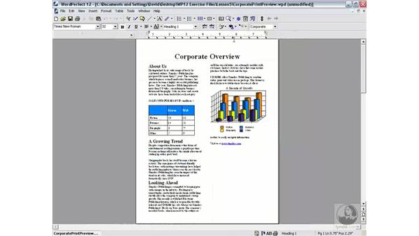 print preview: WordPerfect 12 Essential Training