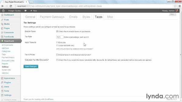 Taxes settings: WordPress Ecommerce: Easy Digital Downloads