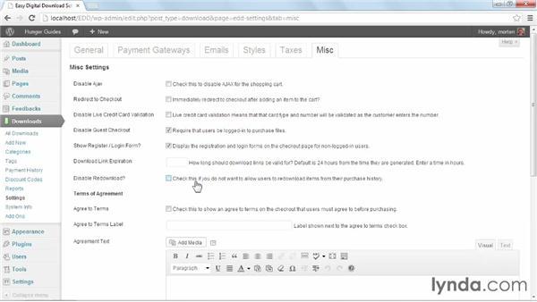 Miscellaneous settings: WordPress Ecommerce: Easy Digital Downloads
