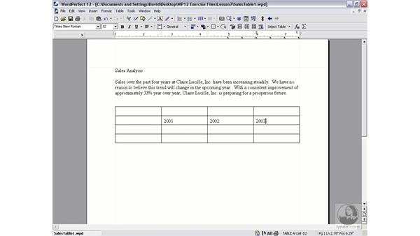 creating tables: WordPerfect 12 Essential Training