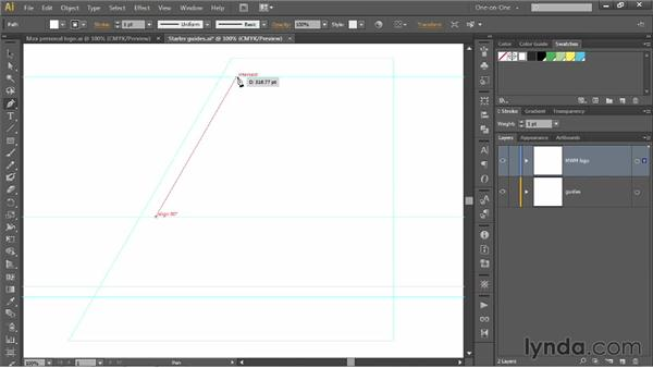 Setting up angular construction guides: Illustrator CS6 One-on-One: Mastery