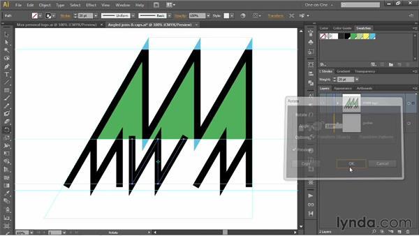 Precisely aligning angled logo artwork: Illustrator CS6 One-on-One: Mastery