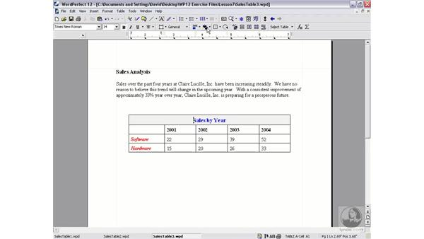 formatting tables: WordPerfect 12 Essential Training