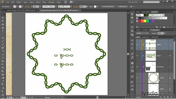 Assembling a seamless pattern brush: Illustrator CS6 One-on-One: Mastery