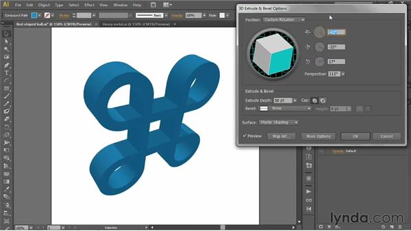 Working in 3D space: Pitch, yaw, and roll: Illustrator CS6 One-on-One: Mastery