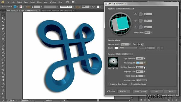 Lighting and shading a 3D object: Illustrator CS6 One-on-One: Mastery