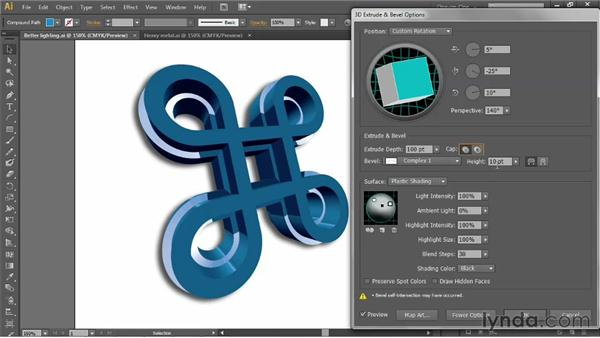 Beveling the edges of a 3D extrusion: Illustrator CS6 One-on-One: Mastery