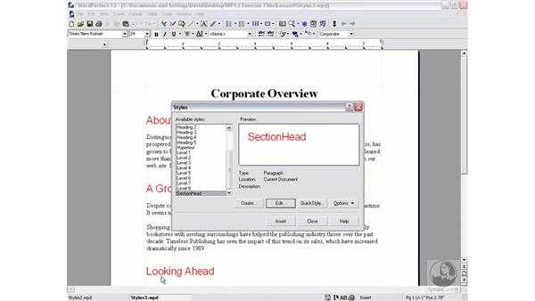 edit and delete styles: WordPerfect 12 Essential Training