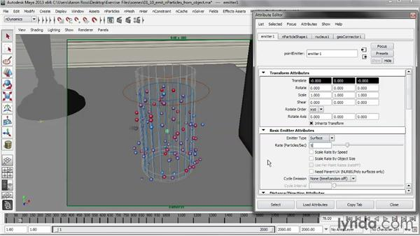 Emitting nParticles from an object: Liquid Simulation in Maya